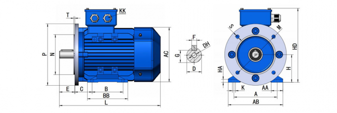 2.2KW Three Phase Electric Motor 2800RPM IE2 Premium Efficiency Simple Structure